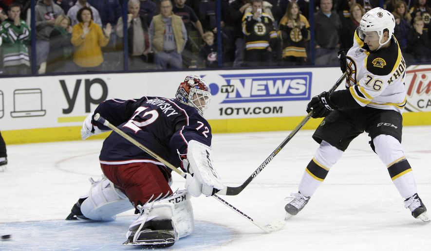 Boston Bruins' Alex Khokhlachev, right, of Russia, scores against Columbus Blue Jackets' Sergei Bobrovsky, also of Russia, during the shootout of an NHL hockey game Friday, Nov. 21, 2014, in Columbus, Ohio. The Bruins defeated the Blue Jackets 4-3. (AP Photo/Jay LaPrete)