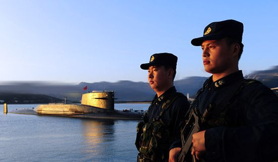 A Chinese navy nuclear-missile submarine at the Qingdao base in eastern China. (Associated Press) ** FILE **