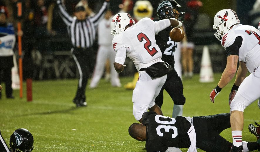 Eastern Washington running back Jabari Wilson (2) scores against Portland State during an NCAA college football game Friday, Nov. 21, 2014, in Portland, Ore. (AP Photo/The Oregonian, Thomas Boyd)