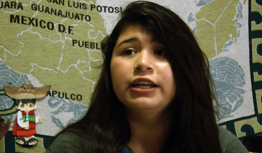 Yulexi Plata, 14, speaks about her hopes for immigration policy during an interview in Birmingham, Ala., on Monday, Nov. 17, 2014. While the high school freshman was born in the United States and is a U.S. citizen, both of her parents are from Mexico and are living in Alabama without proper documentation. Plata hopes a new policy will allow her parents to remain in the United States and ease her fears that they will be deported. (AP Photo/Jay Reeves)