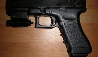 "An ""airsoft"" replica toy gun, like the one pictured here, is meant to be nonlethal and shoots pellets, similar to a BB gun."