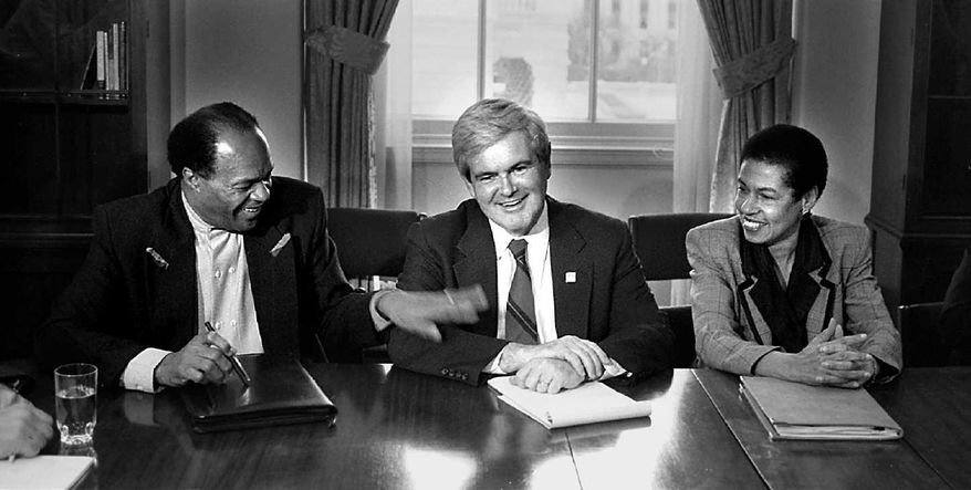 Former D.C. Mayor Marion Barry, with House Speaker Newt Gingrich and D.C. Delegate Eleanor Holmes Norton during one of their many D.C. budget sessions during the long summer months in 1995. (Ross D. Franklin/The Washington Times)