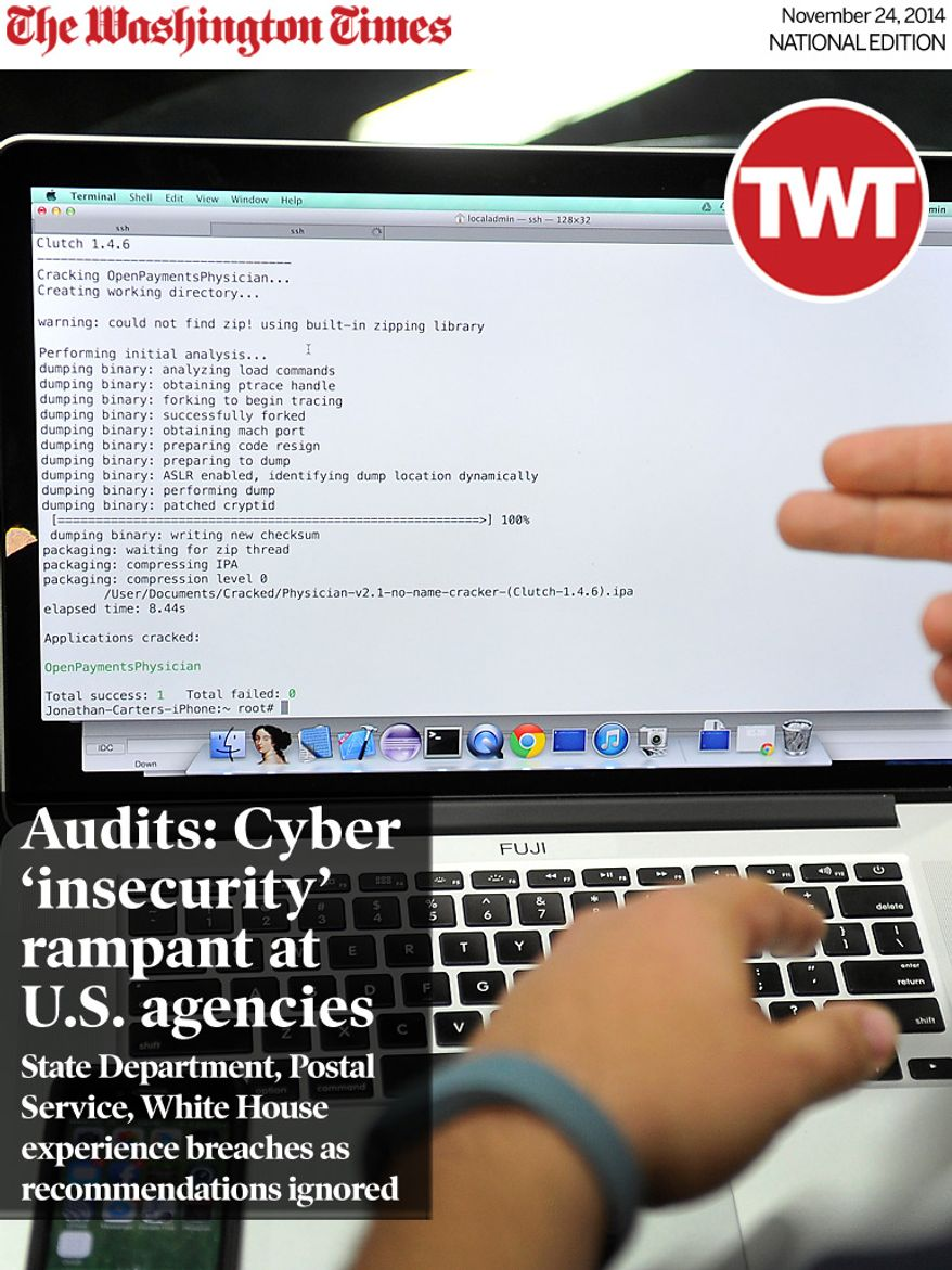 National Edition News cover for November 24, 2014 - Cybersecurity lapses leave U.S. government agencies vulnerable to hackers, reports show: Joe Abbey, Arxan Technologies' director of software engineering, displays on his computer how he hacked into a phone app during a demonstration at the Black Hat USA 2014 cyber security conference Aug. 6 in Las Vegas. Federal systems grow more susceptible to attack as the government's online offerings expand to user-friendly websites and apps, experts say. (Associated Press)