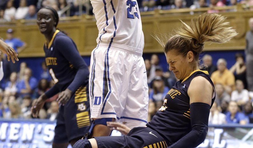 Duke's Rebecca Greenwell (23) collides with Marquette's Cristina Bigica during the first half of an NCAA college basketball game in Durham, N.C., Sunday, Nov. 23, 2014. (AP Photo/Gerry Broome)