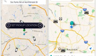 This undated combination image shows a frame grab of the mobile application, Uber, left, and Lyft, right. North Carolina has become a prime market for the smartphone-based car services Uber and Lyft and is likely to join a push around the country to regulate the fast-growing businesses. (AP Photo)