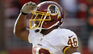Washington Redskins running back Alfred Morris (46) celebrates after running for a 1-yard touchdown during the second quarter of an NFL football game against the San Francisco 49ers in Santa Clara, Calif., Sunday, Nov. 23, 2014. (AP Photo/Ben Margot)