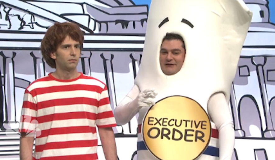 """Saturday Night Live"" took aim at President Obama's action on illegal immigration by spoofing the 1970s kids' favorite ""Schoolhouse Rock"" and replacing ""Bill"" with a chain-smoking ""Executive Order."" (NBC)"