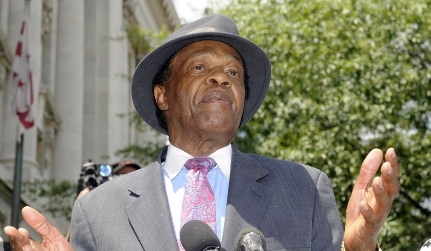 FILE - in this  July 9, 2009 file photo, Councilman Marion Barry, former mayor of DC, speaks at a news conference about his recent arrest in Washington, DC.  Barry, who staged a comeback after a 1990 crack cocaine arrest, died early Sunday morning Nov. 23, 2014. He was 78. (AP Photo/Stephen J Boitano, File)