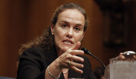 Defense Undersecretary Michele Flournoy testifies on Capitol Hill in Washington, Thursday, Sept. 24, 2009, before the Senate Armed Services Committee hearing on the president's decision on missile defense in Europe. (AP Photo/Harry Hamburg) **FILE**