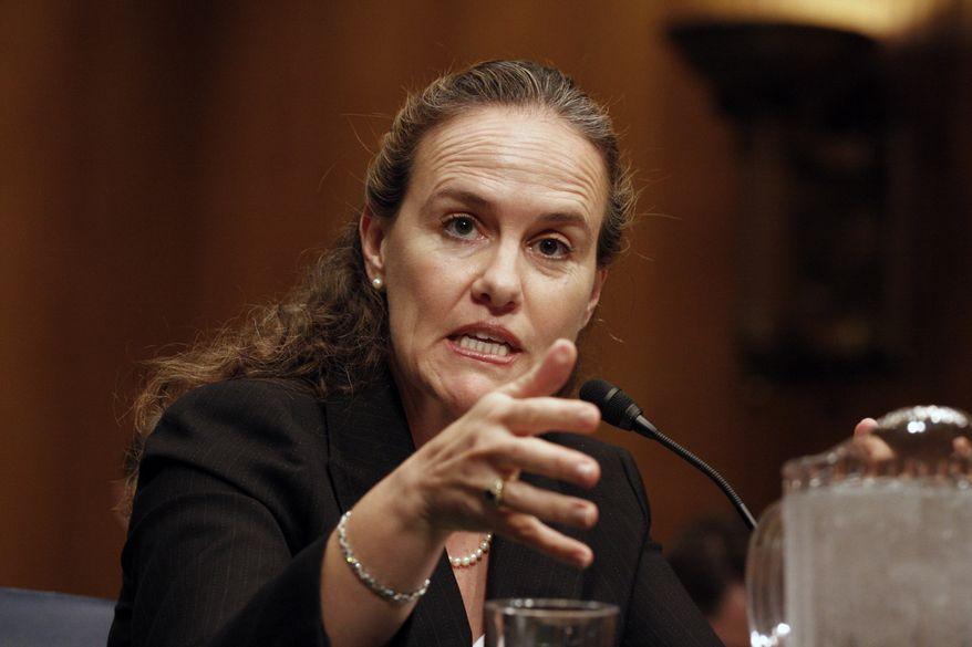 Defense Undersecretary Michele Flournoy testifies on Capitol Hill in Washington, Thursday, Sept. 24, 2009, before the Senate Armed Services Committee hearing on the president's decision on missile defense in Europe. (AP Photo/Harry Hamburg)