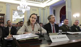 Witnesses testifying before the Senate Armed Services Committee  on Capitol Hill in Washington, Wednesday, April 14, 2010, about U.S.  policy toward Iran's nuclear program are, from left to right:  Undersecretary of Defense for Policy Michele Flournoy, Undersecretary of State for Political Affairs William Burns, Marine General James Cartwright, the vice chairman of the Joint Chiefs of Staff, and Lt. Gen. Ronald Burgess, head of the Defense Intelligence Agency. (AP Photo/J. Scott Applewhite)