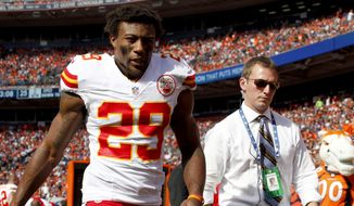 Kansas City Chiefs strong safety Eric Berry (29) walks off the field during the second half of an NFL football game against the Denver Broncos, Sunday, Sept. 14, 2014, in Denver. (AP Photo/Joe Mahoney)