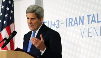 U.S. Secretary of State John Kerry address the media after the closed-door nuclear talks with Iran, in Vienna, Austria, Monday, Nov. 24, 2014. Facing still significant differences between the U.S. and Iran, negotiators gave up on last-minute efforts to get a nuclear deal by the Monday deadline and extended their talks for another seven months. The move gives both sides breathing space to work out an agreement but may be badly received by domestic sceptics, since it extends more than a decade of diplomatic efforts to curb Iran's nuclear prowess. (AP Photo/Ronald Zak)