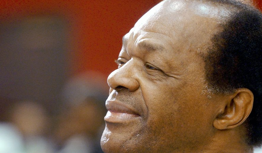 Marion Barry (1936-2014), former mayor of Washington, D.C., listens to speeches at the awards luncheon of the National Conference of Black Mayors in 2002 in Jackson, Mississippi, his native state. (AP Photo/Rogelio Solis)