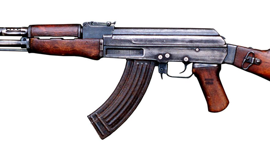 AK-47 - a selective-fire, gas-operated 7.62x39mm assault rifle, first developed in the Soviet Union by Mikhail Kalashnikov. It is also known as Kalashnikov, AK, or in Russian slang, Kalash. Design work on the AK-47 began in the last year of World War II (1945). After the war in 1946, the AK-47 was presented for official military trials. In 1948, the fixed-stock version was introduced into active service with selected units of the Soviet Army. An early development of the design was the AKS (folding), which was equipped with an underfolding metal shoulder stock. In 1949, the AK-47 was officially accepted by the Soviet Armed Forces[8] and used by the majority of the member states of the Warsaw Pact. Even after six decades the model and its variants remain the most popular and widely used assault rifles in the world because of their substantial reliability even under harsh conditions, low production costs compared to contemporary Western weapons, availability in virtually every geographic region and ease of use. The AK-47 has been manufactured in many countries and has seen service with armed forces as well as irregular forces worldwide, and was the basis for developing many other types of individual and crew-served firearms. More AK-type rifles have been produced than all other assault rifles combined.