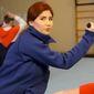 Former Russia spy Anna Chapman demonstrates close-quarters combat in a propaganda video. (Image: YouTube, Anna Chapman)