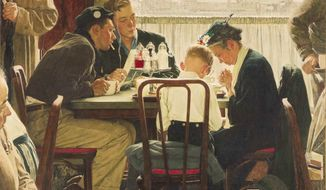 "This undated file photo provided by Sotheby's shows the popular Norman Rockwell masterpiece ""Saying Grace."" (AP Photo/Sotheby's, File)"