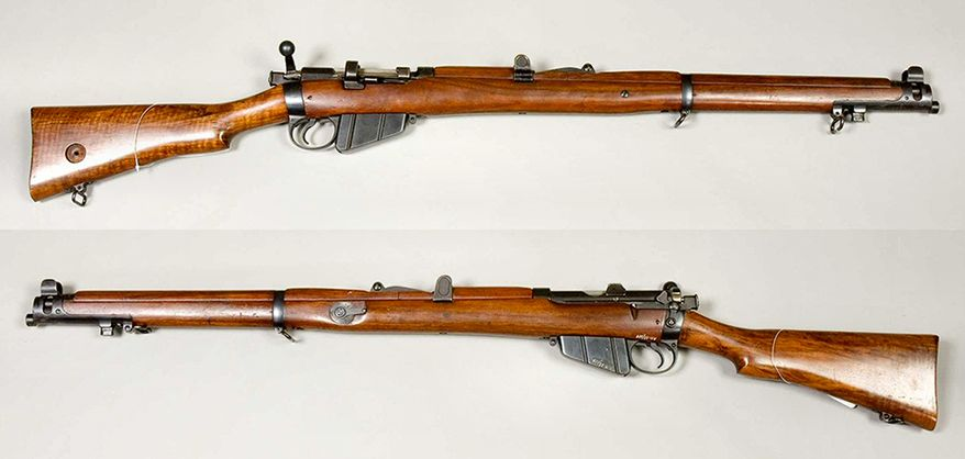 LEE -ENFIELD - a bolt-action, magazine-fed, repeating rifle was the main firearm used by the military forces of the British Empire and Commonwealth during the first half of the 20th century. It was the British Army's standard rifle from its official adoption in 1895 until 1957. A redesign of the Lee-Metford, the Lee-Enfield superseded the earlier Martini-Henry, Martini-Enfield, and Lee-Metford rifles. It featured a ten-round box magazine which was loaded with the .303 British cartridge manually from the top, either one round at a time or by means of five-round chargers. The Lee-Enfield was the standard issue weapon to rifle companies of the British Army and other Commonwealth nations in both the First and Second World Wars. Although officially replaced in the UK with the L1A1 SLR in 1957, it remained in widespread British service until the early/mid-1960s and the 7.62 mm L42 sniper variant remained in service until the 1990s. As a standard-issue infantry rifle, it is still found in service in the armed forces of some Commonwealth nations, notably with the Indian Police and Bangladesh Police, which makes it the longest-serving military bolt-action rifle still in official service. The Canadian Forces' Rangers Arctic reserve unit still use Enfield No.4 rifles as of 2012, with plans announced to replace the weapons sometime in 2014 or 2015. Total production of all Lee-Enfields is estimated at over 17 million rifles.