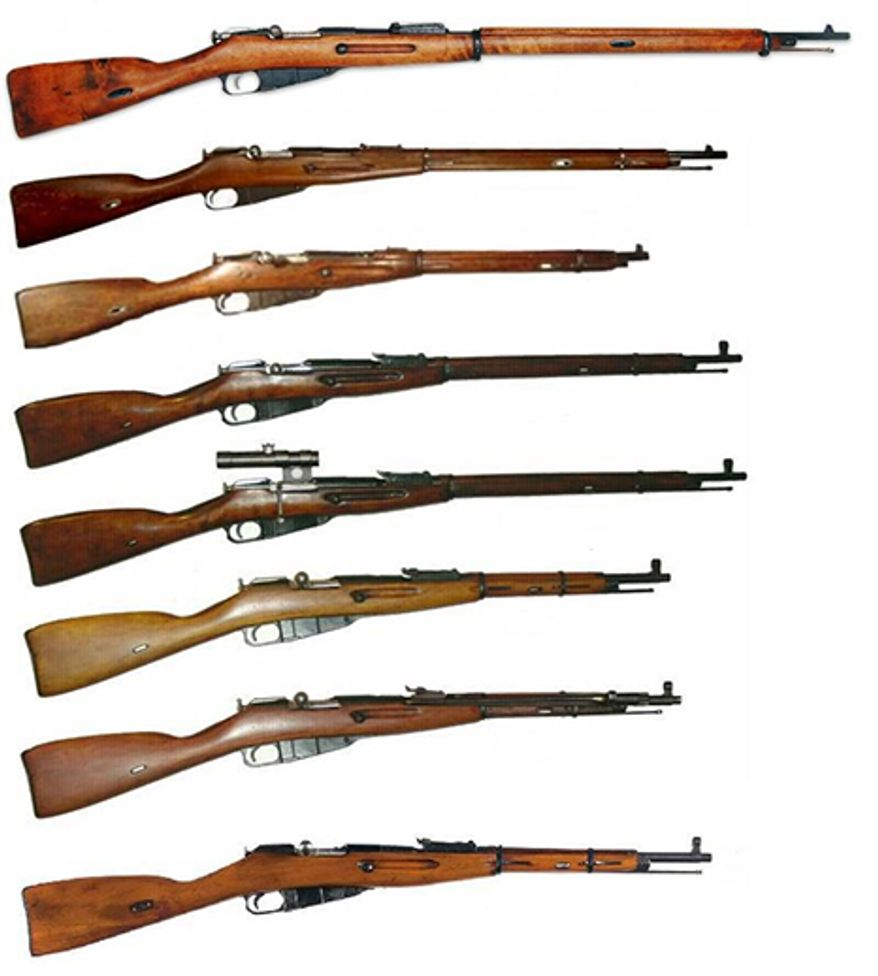 """MOSIN-NAGANT - is a Russian made bolt-action, internal magazine-fed, military rifle, developed by the Imperial Russian Army in 1882–1891, and used by the armed forces of the Russian Empire, the Soviet Union and various other nations. It is one of the most mass produced military bolt action rifles in history with over 37 million units produced since its inception in 1891, and much like the AK-47 it has shown up in various conflicts around the world, despite its age and obsolescence.The Mosin Nagant series of rifles (top to bottom) 1. Mosin Nagant Model 1891 2. Mosin Nagant Model 1891 """"Dragoon"""" 3. Mosin Nagant Model 1907 Carbine 4. Mosin Nagant Model 1891/30 5. Mosin Nagant Model 1891/30 with 3.5x PU scope. 6. Mosin Nagant Model 1938 Carbine 7. Mosin Nagant Model 1944 Carbine 8. Mosin Nagant Model 1959 Carbine"""