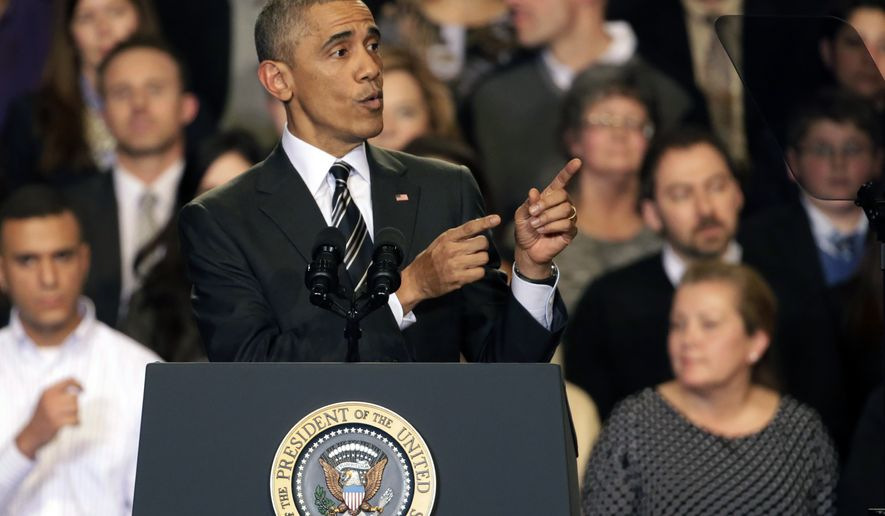 President Barack Obama tries to quiet one of three hecklers as he addresses the crowd after meeting with community leaders about the executive actions he is taking to fix the immigration system Tuesday, Nov. 25, 2014, in Chicago. (AP Photo/Charles Rex Arbogast) **FILE**