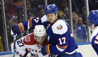 Washington Capitals defenseman Karl Alzner (27) and New York Islanders left wing Matt Martin (17) battle for the puck against the boards in the second period of an NHL hockey game at Nassau Coliseum on Wednesday, Nov. 26, 2014, in Uniondale, N.Y. (AP Photo/Kathy Kmonicek)