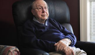 In this Nov. 10, 2014 photo, Maurice Johnson, 97, talks about his grandfather Guilford Talley at his home in Nashville, Tenn. Talley, fought and was injured in the Battle of Franklin in 1864. (AP Photo/The Tennessean, George Walker IV)