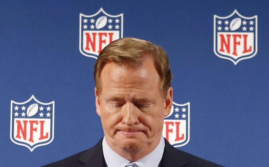 """FILE - In this Sept. 19, 2014, file photo, NFL Commissioner Roger Goodell pauses as he speaks during a news conference in New York.  Rice has won the appeal of his indefinite suspension by the NFL, which has been """"vacated immediately,"""" the players' union said Friday, Nov. 28, 2014. (AP Photo/Jason DeCrow, File) **FILE**"""
