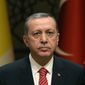 Turkish President Recep Tayyip Erdogan listens to Pope Francis during a meeting at the Presidential palace in Ankara, Turkey, Friday, Nov. 28, 2014. (AP Photo/Burhan Ozbilici) ** FILE **