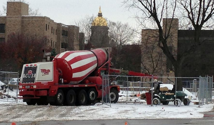 In this Wednesday, Nov. 19, 2014, construction is underway on the largest construction project in the history of the University of Notre Dame, in South Bend, Ind. (AP Photo/Tom Coyne)