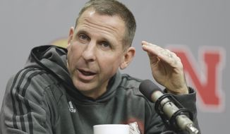 FILE - In a Monday, Nov. 24, 2014 file photo, Nebraska NCAA college football head coach Bo Pelini speaks during a news conference in Lincoln, Neb. Pelini was fired as Nebraska's football coach on Sunday, Nov. 30, 2014, after a seven-year stint.  (AP Photo/Nati Harnik, File)