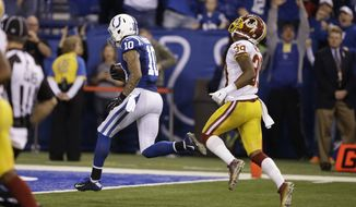 Indianapolis Colts wide receiver Donte Moncrief scores  a touchdown in front of Washington Redskins cornerback David Amerson during the second half of an NFL football game Sunday, Nov. 30, 2014, in Indianapolis. (AP Photo/Darron Cummings)