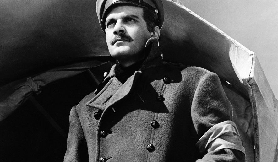 "FILE - In this undated image released by MGM, actor Omar Sharif appears in a scene from the film,""Doctor Zhivago"". The tale of five intertwined lovers during final days of Czarist Russia will come to the Broadway stage. Previews will March 27 with an opening on April 21. (AP Photo/MGM, File)"
