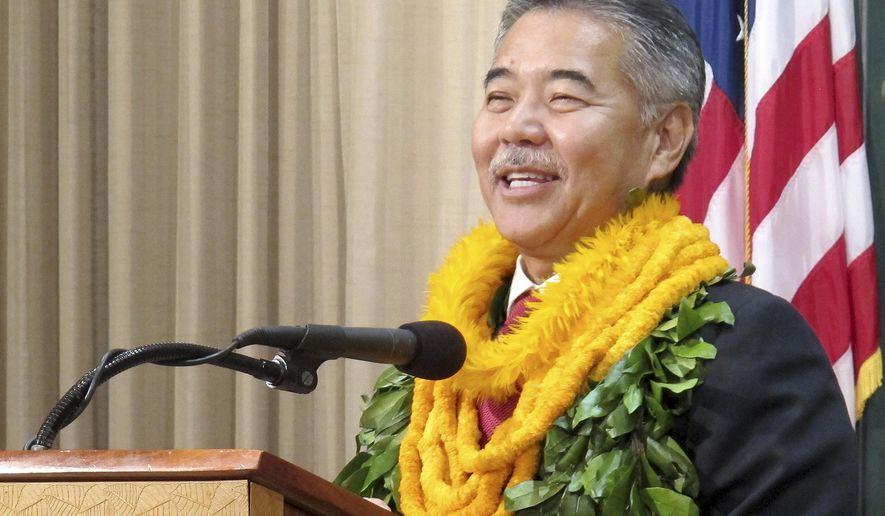 Hawaii Gov. David Ige speaks at his first news conference after his inauguration in the state Capitol in Honolulu on Monday, Dec. 1, 2014. Ige was sworn in as Hawaii's eighth governor since statehood on Monday, vowing to have a more inclusive government. (AP Photo/Cathy Bussewitz)
