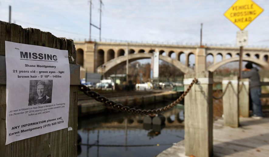 A poster for missing student Shane Montgomery is posted along the Manayunk canal, Sunday, Nov.  30, 2014, in Philadelphia. Police are still looking for clues in the disappearance of the college senior who had been reported missing after a night out with friends at a crowded Philadelphia bar. Police said 21-year-old Montgomery was home from West Chester University and met up with friends Wednesday night at a crowded bar in the Manayunk neighborhood.  (AP Photo/The Philadelphia Inquirer, Michael S. Wirtz )  PHIX OUT; TV OUT; MAGS OUT; NEWARK OUT; ONLINES OUT