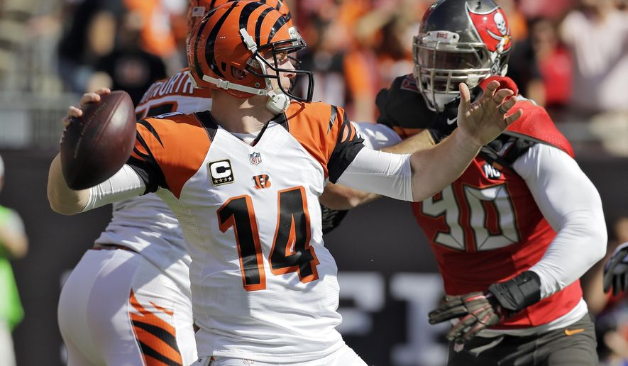Cincinnati Bengals quarterback Andy Dalton (14) throws a pass against the Tampa Bay Buccaneers during the first quarter of an NFL football game Sunday, Nov. 30, 2014, in Tampa, Fla. Buccaneers' Johnthan Banks intercepted the pass. (AP Photo/Chris O'Meara)