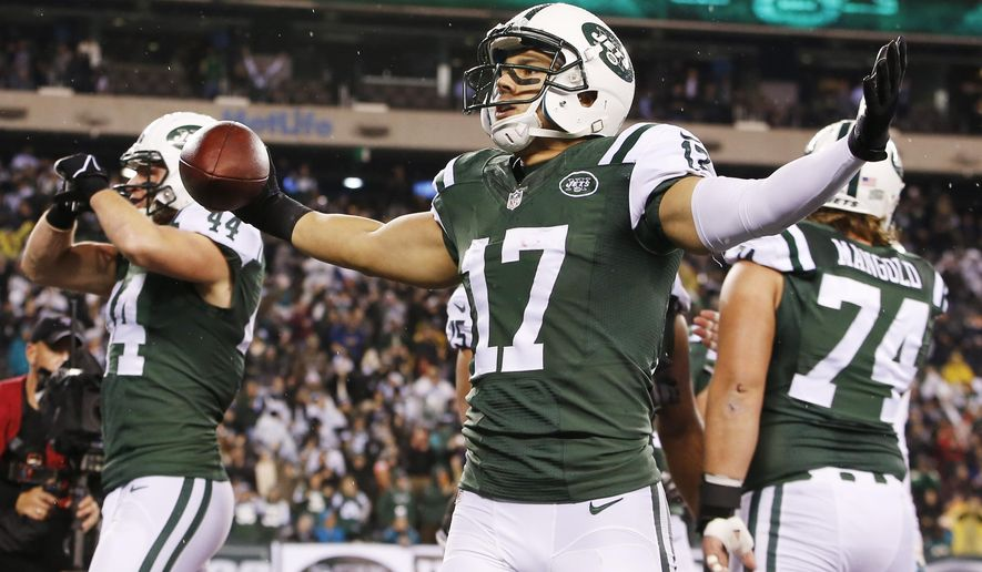 New York Jets wide receiver Greg Salas (17) reacts after scoring a touchdown against the Miami Dolphins during the first quarter of an NFL football game, Monday, Dec. 1, 2014, in East Rutherford, N.J. (AP Photo/Kathy Willens)