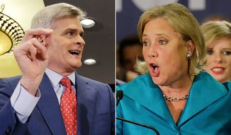 Republican Senate candidate Rep. Bill Cassidy, R-La., (left) is challenging incumbent Sen. Mary Landrieu, D-La.