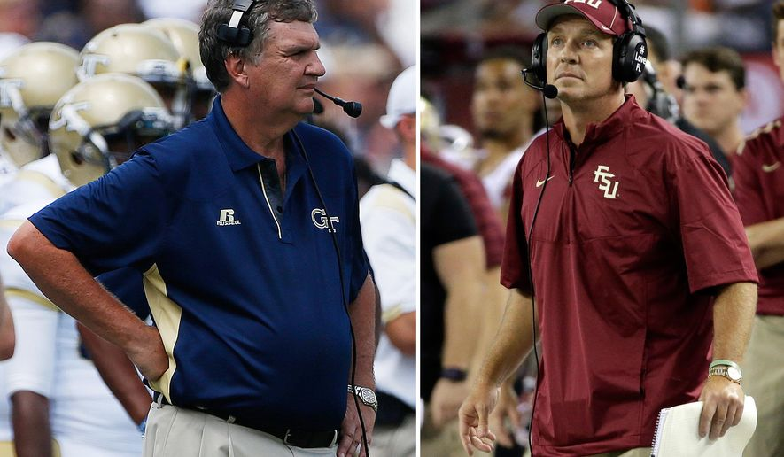 FILE - At left, in an Aug. 30, 2014, file photo, Georgia Tech head coach Paul Johnson watches play against Wofford during the second half of an NCAA college football game in Atlanta. At right, also in an Aug. 30, 2014, file photo, Florida State coach Jimbo Fisher watches an extra point by his team against Oklahoma State in the second half of an NCAA college football game in Arlington, Texas. The No. 12 Yellow Jackets routed Clemson, pulled off a thrilling overtime win against Georgia and now look for their biggest win yet _ against defending national champion Florida State in the ACC championship game. (AP Photo/File)