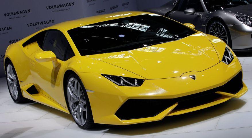 A Lamborghini Huracan LP 610-4 is displayed in Berlin, Germany, March 13, 2014. (Associated Press) ** FILE **