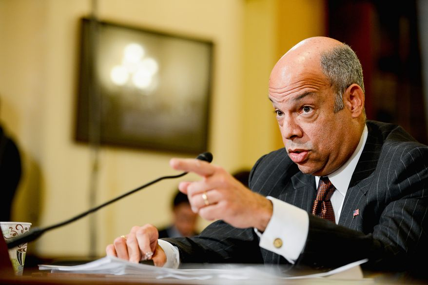 During an intense grilling session on Capitol Hill, U.S. Secretary of Homeland Security Jeh Johnson disagreed with President Obama's 2010 assertion that amnesty would lead to a new surge in illegal border crossings from Mexico. (Andrew Harnik/The Washington Times) ** FILE **