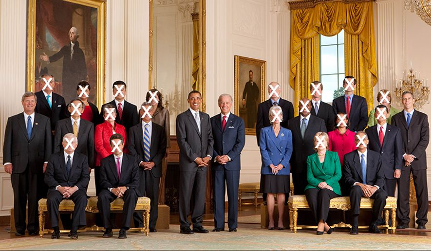 President Barack Obama and Vice President Joe Biden pose with the full Cabinet for an official group photo in the East Room of the White House on Sept. 10, 2009.Seated from left: Defense Secretary Robert M. Gates, Treasury Secretary Timothy F. Geithner, Secretary of State Hillary Rodham Clinton and Attorney General Eric H. Holder, Jr.Standing second row, from left: Agriculture Secretary Tom Vilsack, Energy Secretary Steven Chu, Homeland Security Secretary Janet Napolitano, White House Chief of Staff Rahm Emanuel, Health and Human Services Secretary Kathleen Sebelius, U.S. Trade Representative Ron Kirk, U.S. Permanent Representative to the United Nations Susan E. Rice, Veterans Affairs Secretary Eric K. Shinseki, and Education Secretary Arne Duncan.Back row, from left: Transportation Secretary Ray LaHood, Environmental Protection Agency Administrator Lisa P. Jackson, Commerce Secretary Gary Locke, Labor Secretary Hilda L. Solis, Interior Secretary Ken Salazar, Housing and Urban Development Secretary Shaun Donovan, Office of Management and Budget Director Peter Orszag, and Council of Economic Advisers Chair Christina Romer.   (Official White House Photo by Chuck Kennedy)This official White House photograph is being made available only for publication by news organizations and/or for personal use printing by the subject(s) of the photograph. The photograph may not be manipulated in any way and may not be used in commercial or political materials, advertisements, emails, products, or promotions that in any way suggests approval or endorsement of the President, the First Family, or the White House.