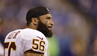 Washington Redskins inside linebacker Perry Riley on the bench during the second half of an NFL football game against the Indianapolis Colts Sunday, Nov. 30, 2014, in Indianapolis. The Colts defeated the Redskins 49-27. (AP Photo/Darron Cummings)