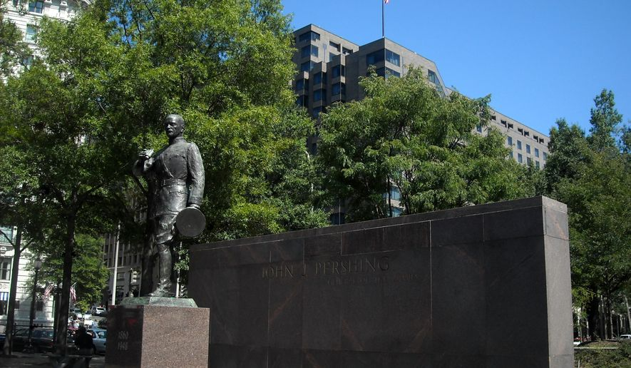 The John J. Pershing Memorial in Pershing Park, located in downtown Washington, D.C., is seen here. (Wikipedia)