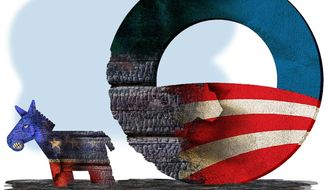 Illustration on the political damage to Democrats from Obama by Alexander Hunter/The Washington Times