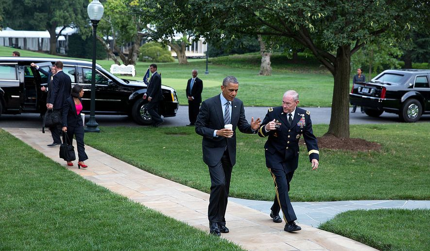 President Barack Obama walks with Gen. Martin Dempsey, Chairman of the Joint Chiefs of Staff, on the South Lawn of the White House upon returning from the U.S.-Africa Leaders Summit at the U.S. Department of State in Washington, D.C., Aug. 6, 2014. (Official White House Photo by Pete Souza)