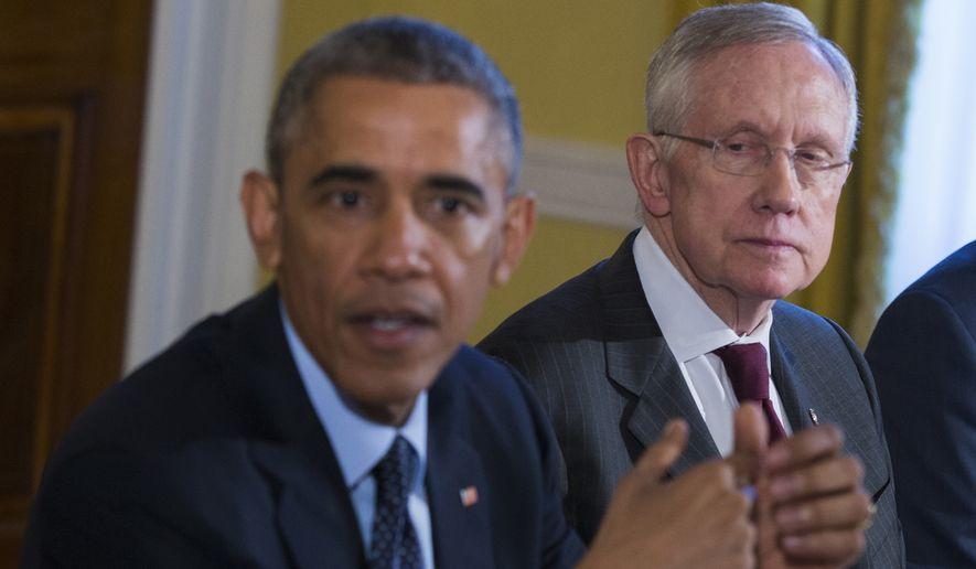FILE - In this Nov. 7, 2014 file photo, Senate Majority Leader Harry Reid of Nev., right, listens as President Barack Obama speaks during a meeting with Congressional leaders in the Old Family Dining Room of the White House in Washington.   In speeches, negotiations, and congressional hearings, several key Democrats are disregarding the White House in ways large and small. The White House has responded with an extraordinary veto threat and a round of Obama calls to Democrats urging them to stand up against their own leadership.  (AP Photo/Evan Vucci)