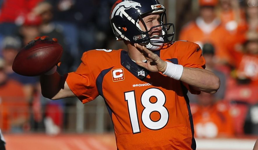 Denver Broncos quarterback Peyton Manning throws against the Buffalo Bills during the first half in an NFL football game Sunday, Dec. 7, 2014, in Denver. (AP Photo/David Zalubowski)