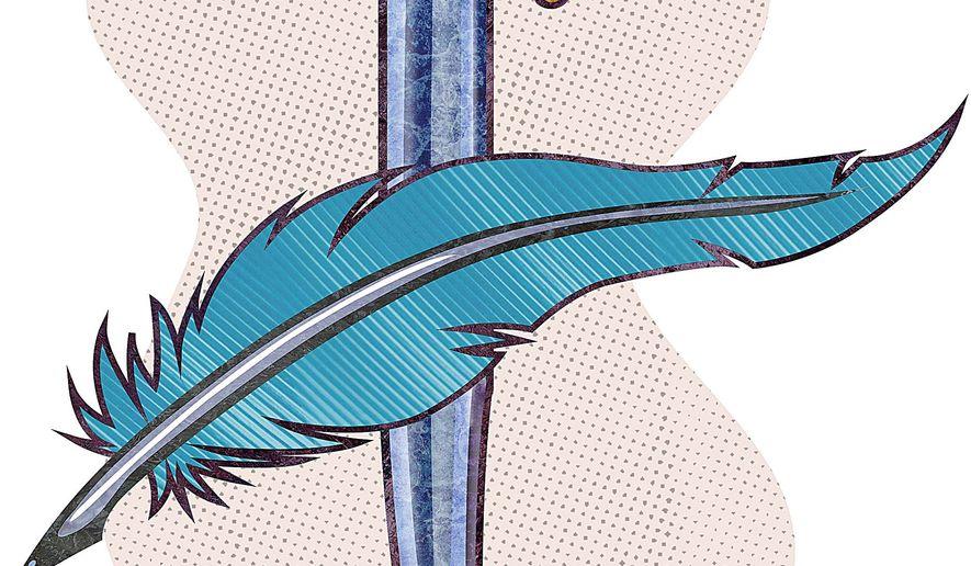 Thomas Pain Pen and Washington Sword Illustration by Greg Groesch/The Washington Times