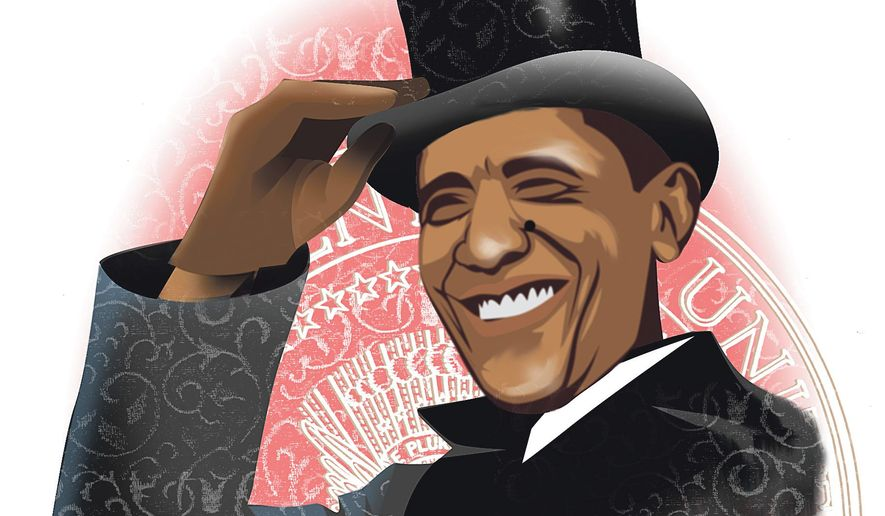 Illustration on comparisons between Barack Obama and Woodrow Wilson by Linas Garsys/The Washington Times