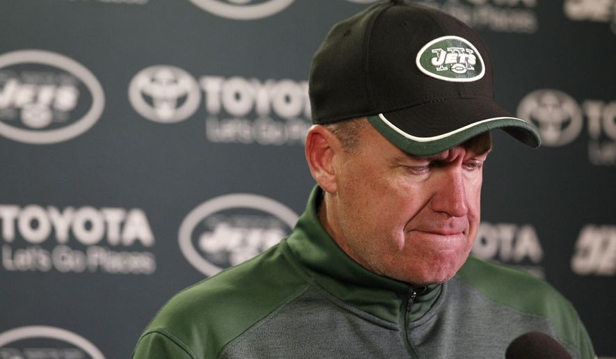 New York Jets head coach Rex Ryan speaks during a news conference after an overtime NFL football game against the Minnesota Vikings, Sunday, Dec. 7, 2014, in Minneapolis. The Vikings won 30-24. (AP Photo/Alex Brandon)